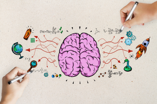 Hand drawing a brain developing skills for the future