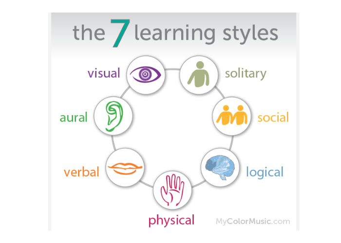 7 Learning Styles - Visual, Solitary, Social, Logical, Physical, Verbal, Aural
